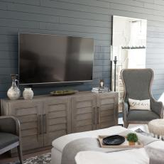 Gray Transitional Living Room With Shiplap