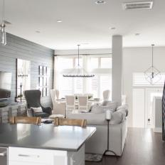 Gray and White Transitional Great Room