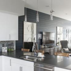 Open Plan Kitchen and Gray Shiplap Wall
