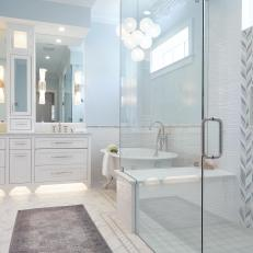 Luxurious Gray And White Master Bathroom