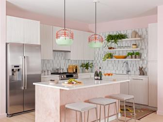 Pink Open Plan Kitchen With Green Pendants