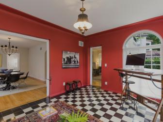 Red Home Office With Checkered Floor