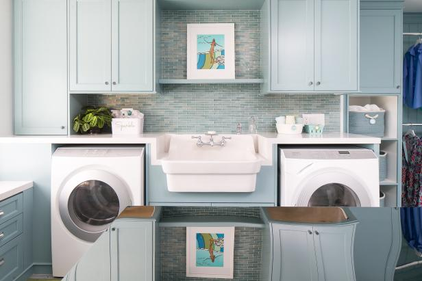 Blue Transitional Laundry Room