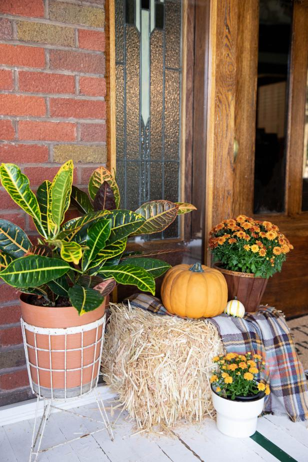 Pumpkins and Hay on Front Porch For Fall