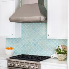 White Transitional Kitchen With Blue Scale Tiles