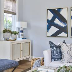 Gray and Blue Transitional Living Room With Blue Books