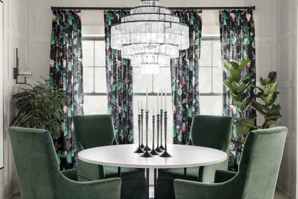 Black Floral Curtains Frame Windows in White Transitional Dining Room