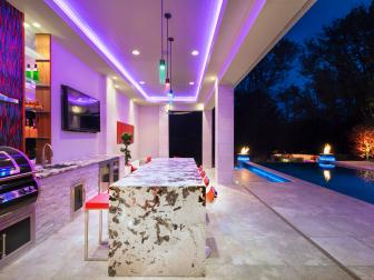 Outdoor Kitchen and Bar With Neon Lighting