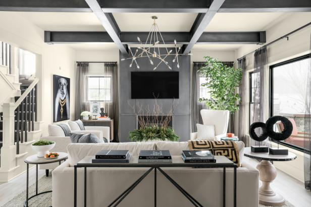 Neutral Transitional Great Room With Faux-Steel Exposed Ceiling Beams