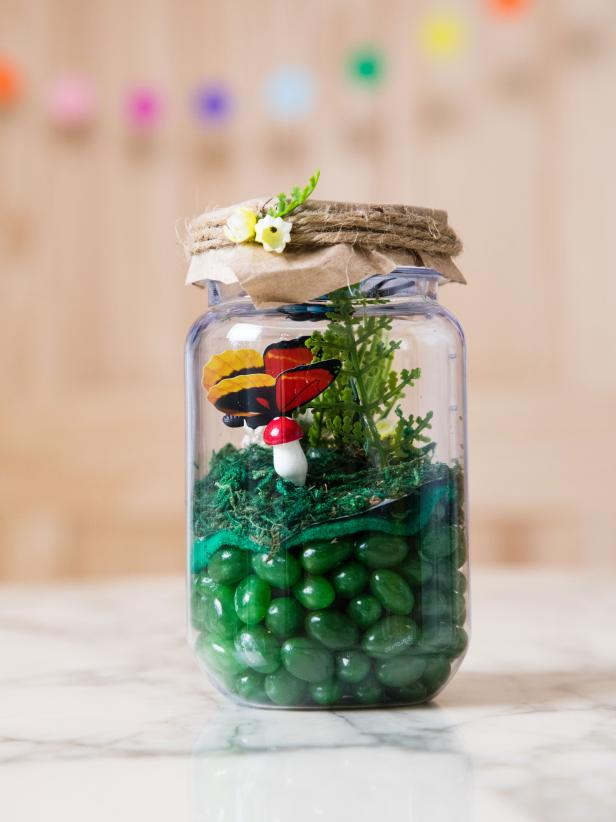 A Glass Jar of Candy Made to Look Like A Magical Meadow