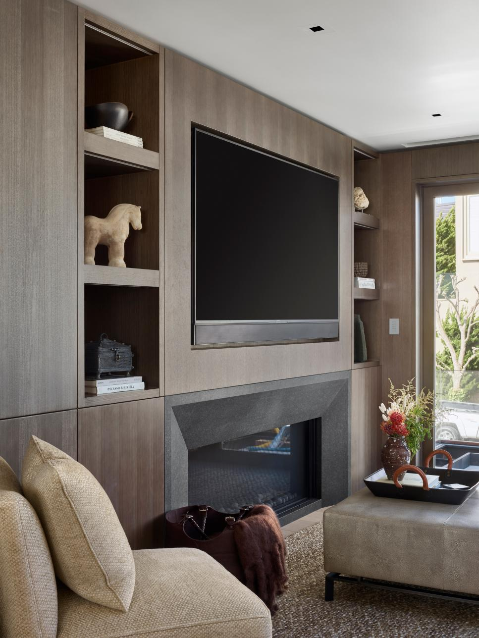 Modern Living Room With Wood Paneling | HGTV