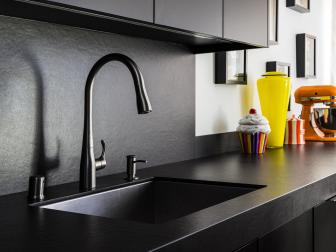 Black Kitchen with Bright Details