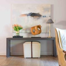 Gray Console Table With Tulips