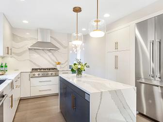 White Transitional Kitchen With Gray Cabinets
