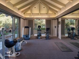 Gym With Vaulted Ceiling