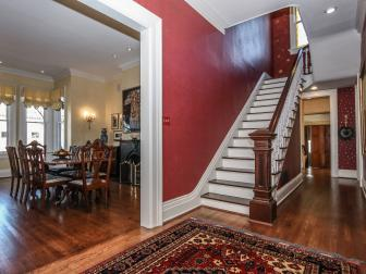 Dramatic Foyer With Red Walls