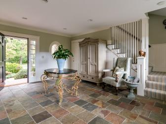 Foyer With Stone Tile Flooring