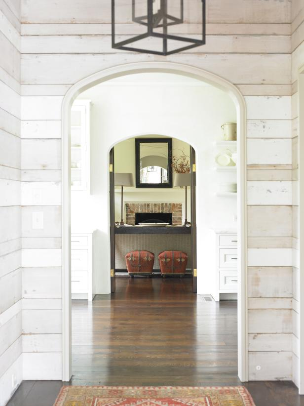 A renovated foyer in keeping with Dutch Colonial architecture.