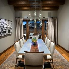 Rustic Contemporary Dining Room With Zinc Table
