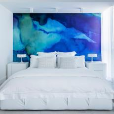White Modern Bedroom With Blue Mural