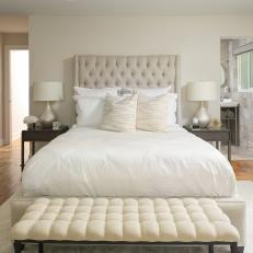White Transitional Bedroom With Silver Lamps