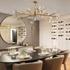 Silver Dining Room With Gold Chandelier