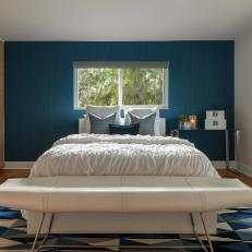 Blue Contemporary Bedroom With Geometric Rug