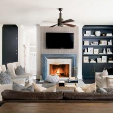 Gray Contemporary Living Room With Niche