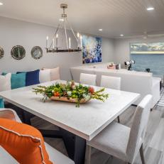 Gray Contemporary Dining Area and Ocean View