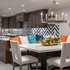 Transitional Dining Area With Multicolored Pillows