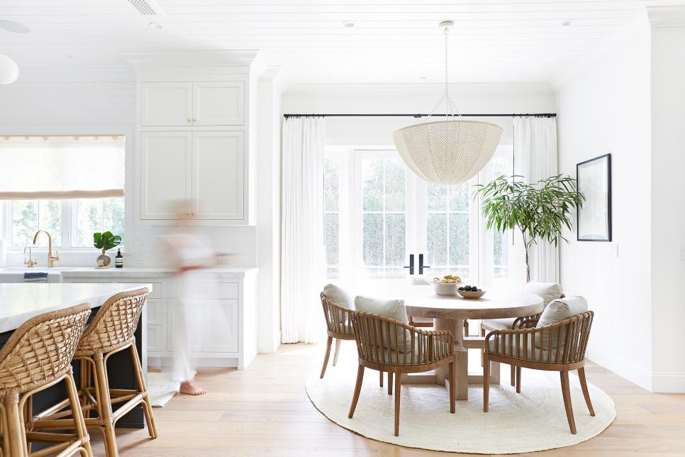 White Transitional Dining Area With Round Rug Hgtv