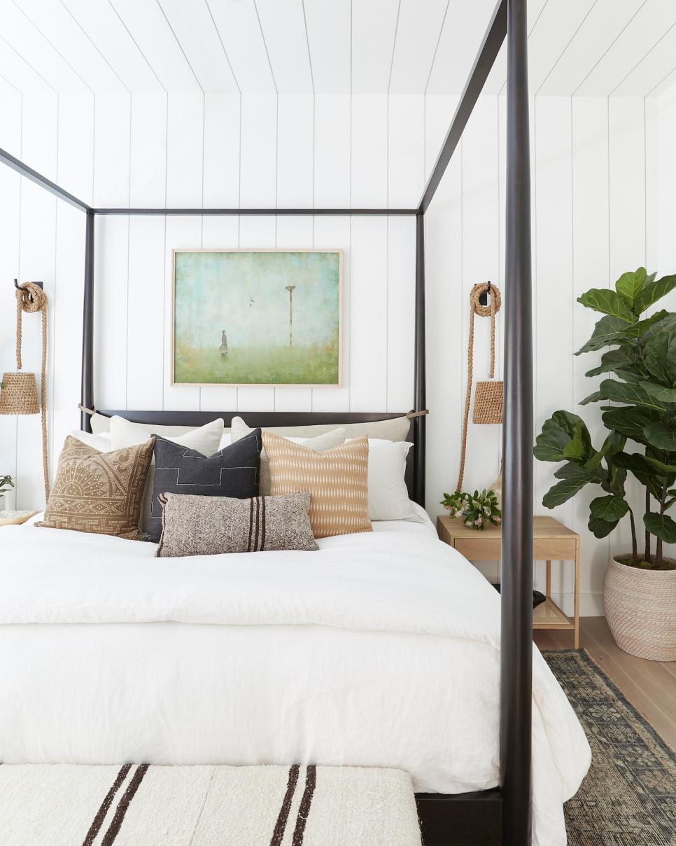 Rope Pendants For Bedside Lights In Inviting White Bedroom Hgtv