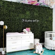 Contemporary Nursery With Leafy Wall