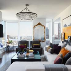 Contemporary Living Room With City View