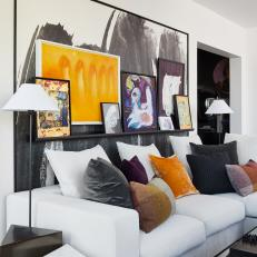 Contemporary Living Room With Orange Art