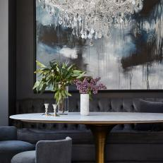 Gray Contemporary Dining Room With Banquette