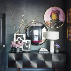 Gray Contemporary Foyer With Lilacs