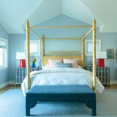 Blue Transitional Main Bedroom With Red Lamps