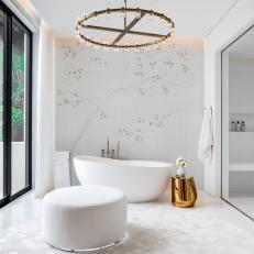 Organic Primary Bathroom Awash in Gold and White
