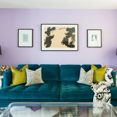 Modern Living Room with Purple Accent Wall