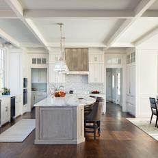 Transitional Kitchen With Exposed Beams
