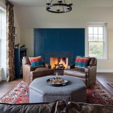 Navy Blue Study with Fireplace