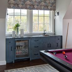 Transitional Game Room With Home Bar