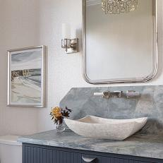 Champagne Style in Small Powder Room