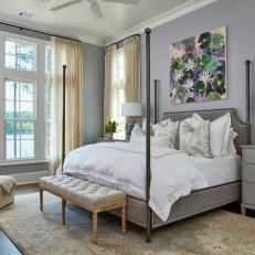 Traditional Bedroom With Soft Purple Walls