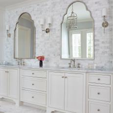 Transitional Double Vanity Bathroom With Marble Accents