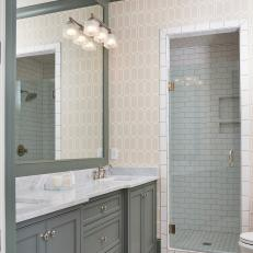 Patterned, Transitional Double Vanity Bathroom