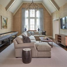 Neutral Living Room With Vaulted Ceilings