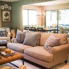 Green Country Living Room With Shiplap