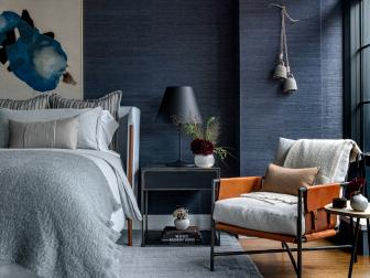 Blue Contemporary Bedroom With Leather Chair